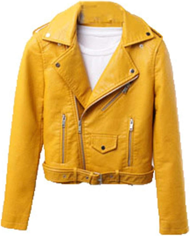 Yiqinyuan Fashion Casual Women Faux Leather Jacket Turn-Down Collar PU Jackets and Coats Slim Streetwear
