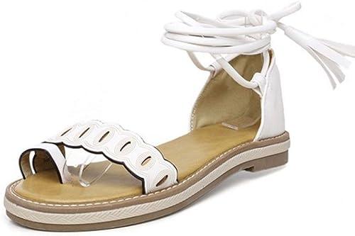 Damen Sandalen mit Kreuzriemen, Größe 30-47, Weiß (Weiß), 34 EU