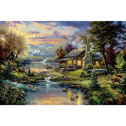 Ingooood- Jigsaw Puzzles 1000 Pieces for Adult- Tranquil Series- Home by The Lake_IG-1167 Entertainment Wooden Puzzles Toys