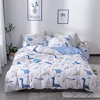 Dinosaur Duvet Cover Queen Premium Cotton Kids Bedding Sets Full with Hidden Zipper Fade Resistant Boys Queen Comforter Cover for Toddler Teens Cartoon Duvet Cover White Quilt Cover Blue, No Comforter