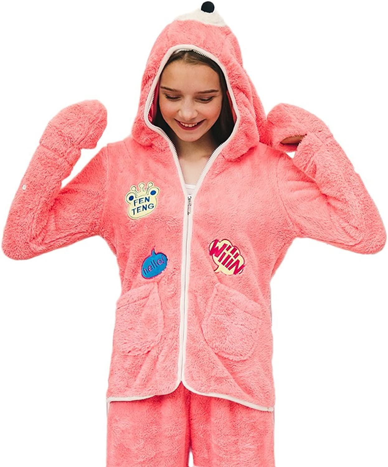 Girl Winter Cute Cartoon Hooded Longsleeved Pajamas Suit Fashion Sweet And Comfortable Zipper Keep Warm Home Clothing ( color   Pink , Size   L )