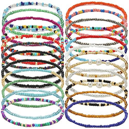 24Pcs Beaded Anklets for Women Handmade Boho Elastic Beaded Ankle Bracelets Set Colorful Anklets for Teen Cute Anklets