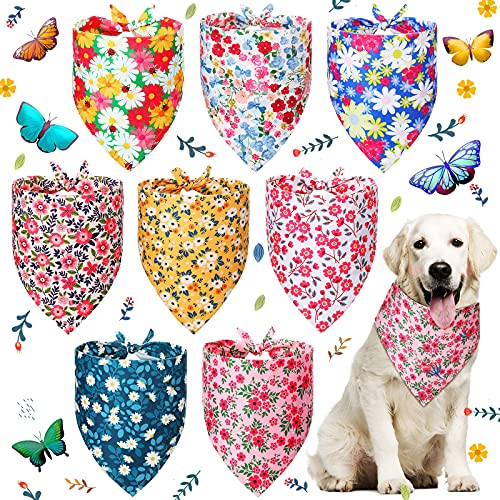 8 Pieces Dog Bandana Flower Print Reversible Triangle Bibs Puppy Scarf Accessories for Dogs Cats Pets (Cute Flower Patterns, M)