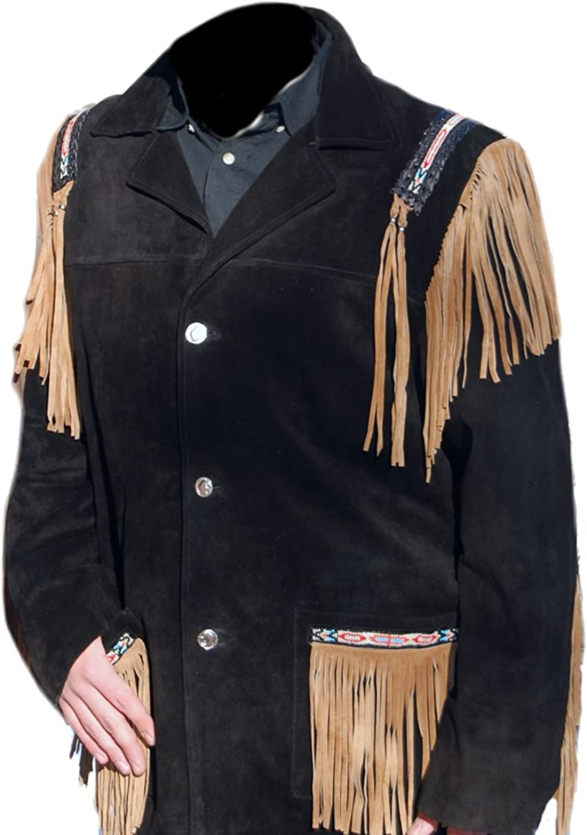 coolhides Men's Cowboy Western Suede Leather Fringed and Beaded Coat