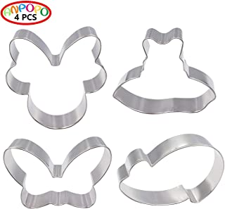 ANPOPO Mickey Minnie Mouse Cookie Cutters - 4 Piece - Disney Cookie Cutter Set - Minnie Face with Bow, Bow, Dress and High Heels Biscuit Fondant Large Metal Cutters Molds