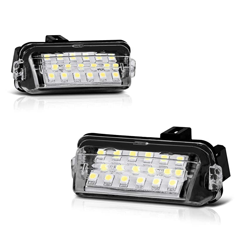 VIPMOTOZ Full LED License Plate Light Lamp Assembly Replacement For Toyota Camry Highlander Avalon Yaris Prius C - 6000K Diamond White, 2-Pieces