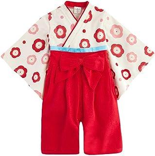 NEWSTORY 記念日 に 和装 で おめかし 袴 ロンパース ベビー キッズ 用 (02. 赤・80cm)