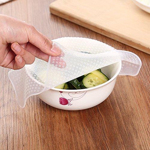 WEIAIXX Membrana De Silicona De Grado Alimenticio Fresco Cubre La Cocina Nevera Cubierta Fresca Empaquetadura De Tapa Transparente Es Reutilizable Cubiertas Pequeñas 9,5 * 9,5 Cm