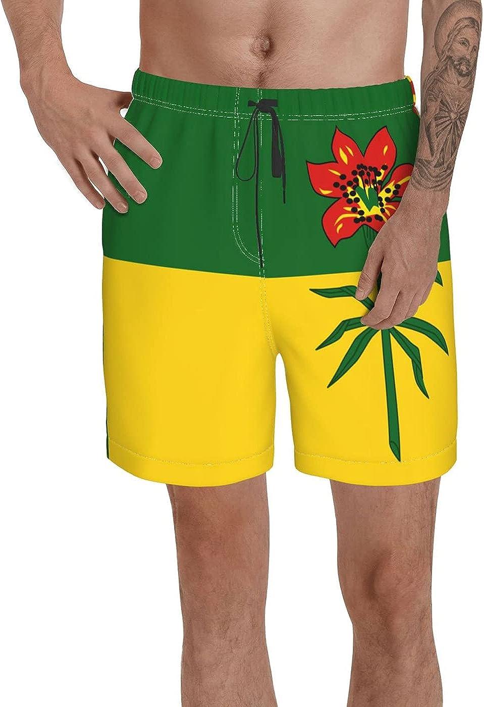 Count Saskatchewan Flag Men's 3D Printed Funny Summer Quick Dry Swim Short Board Shorts with