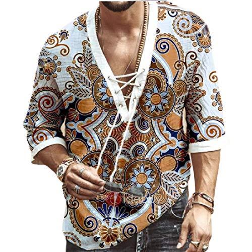 Camisa de Media Manga con cordón con Estampado étnico para Hombre, Tendencia de Moda, Costuras, Camisas holgadas Informales de Talla Grande, pulóveres XL