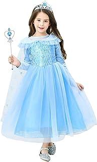 URAQT Disfraz de Princesa Elsa/Capa Disfraces/Belle Vestido y Accesorios para Niñas- Reino de Hielo - para Carnaval,Cosplay,Navidad,Fiesta de Cumpleaños Manga Larga 110CM