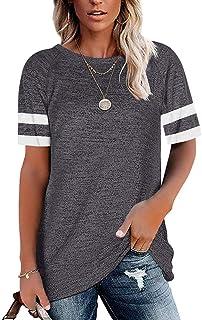 Summer Short Sleeve Crewneck Tops for Women Color Block...