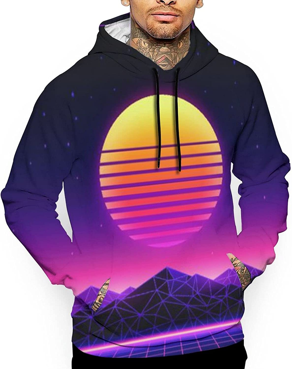 Men'S Hooded Sweatshirt Skin-Friendly Polyester Funny Creative Sweatshirts Tops For Vacations Holiday