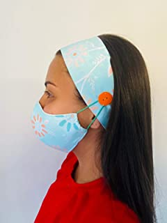 Aqua Face Mask Headband Strap 2pcs, Fancy Floral Women Comfortable 2 Layers Fabric, Fashion Mask Reusable, No Pain Mask, Button Headband for Nurses