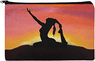Yoga Silhouette Against Sunrise Makeup Cosmetic Bag Organizer Pouch