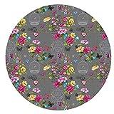 DecoHomeTextil Wachstuchtischdecke Wachstuch Tischdecke Gartentischdecke Rund Oval Paradies Vogel Anthrazit Rund ca. 140 cm abwaschbare Wachstischdecke