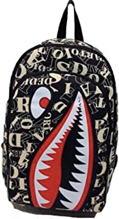 Shark Backpack | Stylish Canvas Backpack With Free Shark Keychain (Letters)