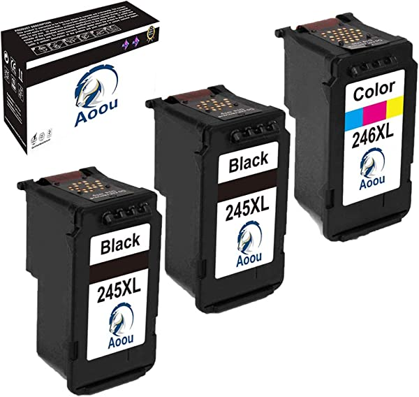Aoou PG 245XL CL 246XL Ink Cartridges Compatible For Canon 245XL 246XL Ink Work With Canon PIXMA MX492 MG2520 MG2920 MG2420 MG2522 MG2922 IP2820 MX490 MG2525 MG3020 Printe 2 Black 1 Tri Color