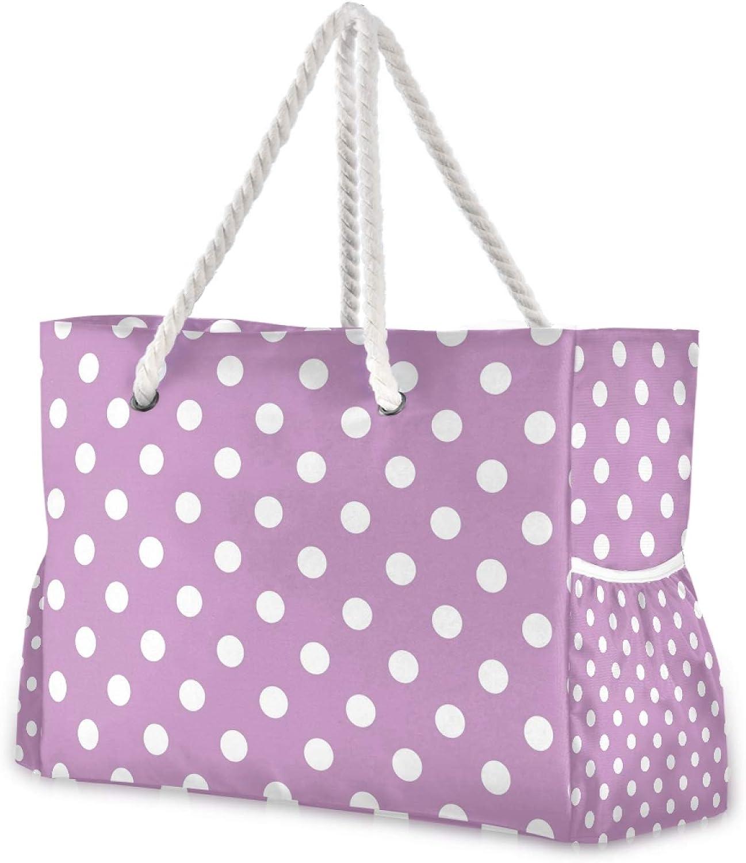 OTVEE Polka Dots Retro Purple Beach Travel New product! New type Zi Albuquerque Mall Large Bag Tote