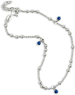 SilberDream SDF5035B - Tobillera para mujer, 25 cm, plata de ley 925, color azul y plateado