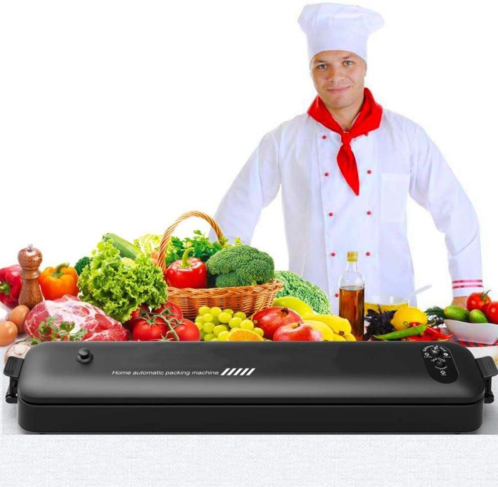 Machine De Scellant sous Vide, Ménage Automatique Scellant sous Vide d'emballage Alimentaire, avec des Sacs Premium Seal, pour Les Légumes, La Viande, Les Œufs,Noir Black