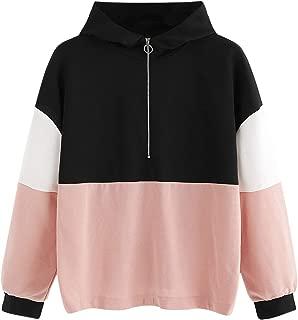 SweatyRocks Women's Hoodies Long Sleeve Colorblock Zip Pullover Hooded Sweatshirt