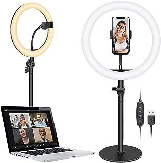 Neewer Selfie Ringljus för bärbar dator, 10 tum dimbart skrivbord LED-cirkelljus med stativ/telefonhållare/3 ljuslägen för...