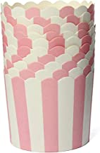50x Cupcake Wrapper Paper Cake Case Baking Cups Liner Muffin Pink Striped - Baking Cups