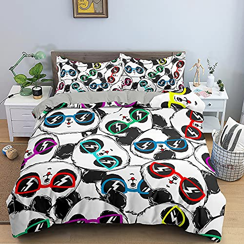 Cartoon Kids Home Textiles Bedding Set Small Fresh Cute Panda With Glasses Gray Duvet Cover Queen King Size Soft Comforter Set Double Single The Comfy for Girl Adult,Full