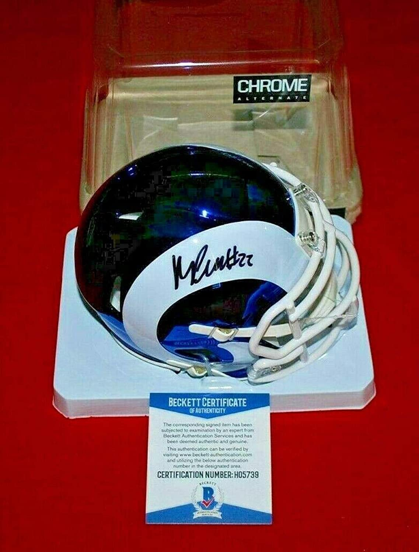 Signed Marcus Peters Mini HelmetChrome Beckett COABeckett AuthenticationAutographed NFL Mini Helmets