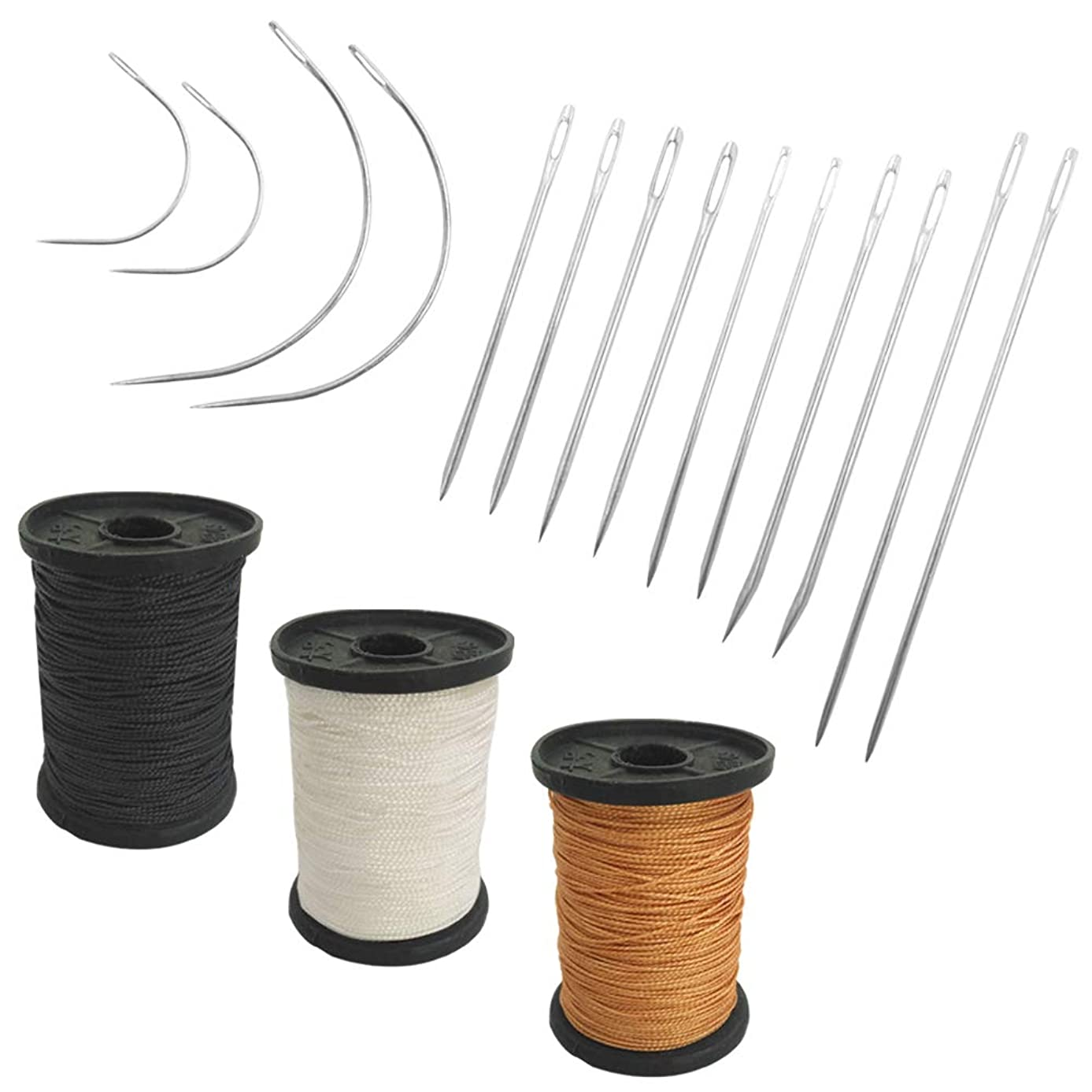 Set of 17 Heavy Duty Household Hand Needles and Extra Strong Upholstery Thread, SourceTon 7 Styles of Leather Canvas Sewing Needles and 3 Colors Nylon Thread (50 Yard of Each Thread)