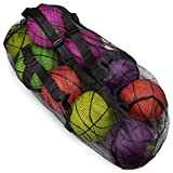 Crown Sporting Goods 39' Mesh Sports Ball Bag with Adjustable Shoulder Strap, Oversize Duffle - Great for Carrying Gym Equipment, Jerseys, Laundry (Black)