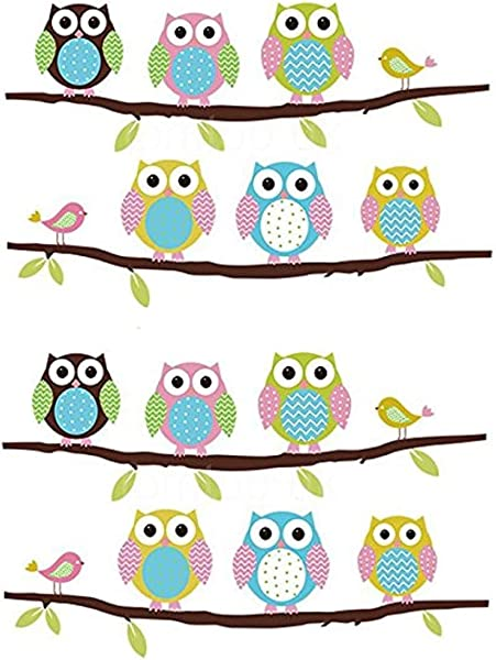 FiveRen 2 PCS Removable Wall Stickers Of Tree Owls Wall Decals Home Decoration For Kids Rooms Nursery Baby Boys Girls Bedroom