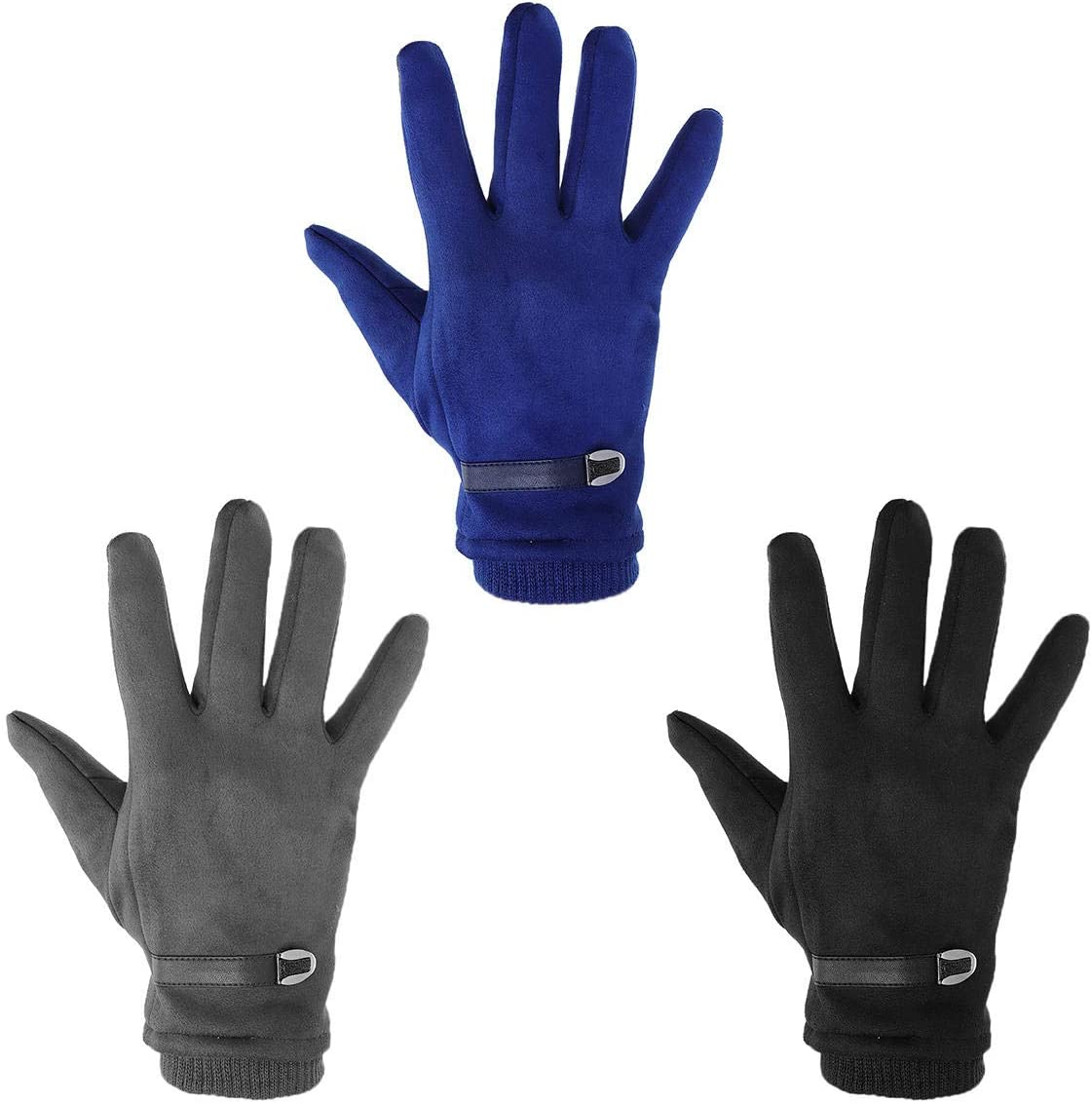 Lupovin-Keep Warm 3 Colors Leather Buckle Suede Touch Screen Gloves Windproof Inhuman Protection Warm Thermic Glove Non-Slip (Color : Dark Grey)