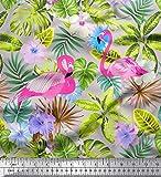 Soimoi Grau Poly Georgette Stoff Flamingo, Tropische