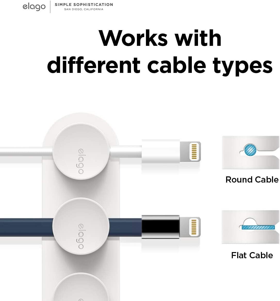 Potentes Imanes Organice 3 Cables Blanco elago Botones Magn/éticos de Gesti/ón de Cables Adhesivo Reutilizable que se Adhiere a la Superficie Organizaci/ón del Escritorio