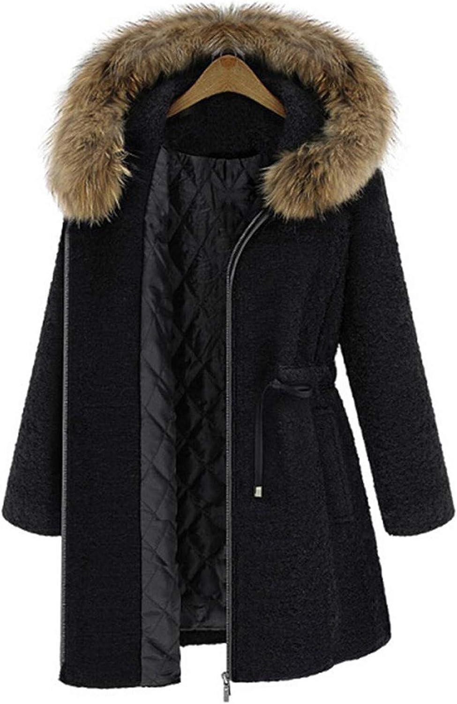 Cyose Fashion Women Wool Coat Thicken Warm Drawstring Casual Long Outerwear Hot Winter Hooded Fake Fur Collar Elegant Vintage Overcoat Black L