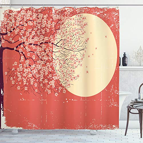ABAKUHAUS Frühling Duschvorhang, Kirsche Sakura-Blüten, Hochwertig mit 12 Haken Set Leicht zu pflegen Farbfest Wasser Bakterie Resistent, 175 x 180 cm, Korallen blassgelbe Pflaume