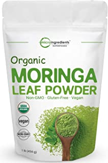 Moringa Powder Organic (Moringa Oleifera), 1 Pound (16 Ounce), Rich in Natural Antioxidants, Multi-Vitamins and Minerals for Green Drinks, Smoothie and Cookie, No GMOs, Sun Dried and Vegan Friendly
