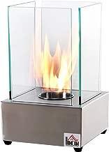 HOMCOM Freestanding Tabletop Ventless Bio Ethanol Fireplace Glass - Stainless Steel