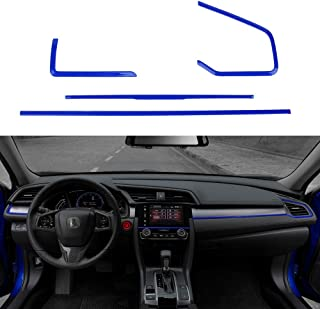 Thenice 4pcs Center Consoles Panel Stickers Dashboard Trims Strips Inner Decals for 10th Gen Honda Civic 2020 2019 2018 2017 2016 -Blue - coolthings.us