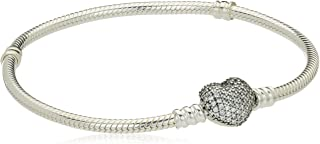 Women's Moments Silver Bracelet with Pave Heart Clasp