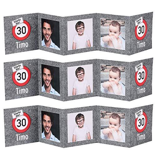 Herz & Heim® Tischaufsteller mit Fotos für Ihre Geburtstagsdeko zum runden Geburtstag - außergewöhnliche Tischdekoration