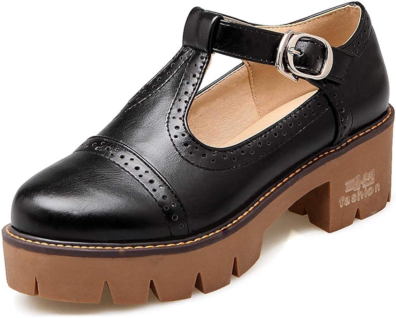 Vimisaoi Women's T-Strap Mary Janes Cutout Oxfords shoes, Vintage Platform Block Mid-Heel Square Wingtip Dress Pumps Brogue shoes