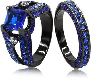 Jude Jewelers Black Blue Princess Cut Cubic Zirconia Wedding Ring Set