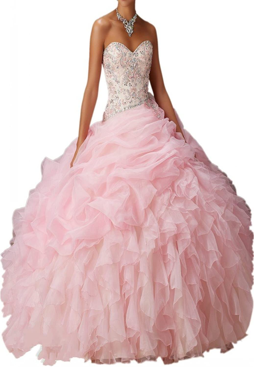 Avril Dress Strapless Beading Ball Gown Layered Organza Sweep Quinceanera Dress