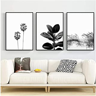 DNJKSA Scandinavian Ocean Waves Landscape Canvas Poster Nature Nordic Wall Art Black White Reed Palm Tree Painting Picture Home Decor-50x70cmx3Pcs-No Frame
