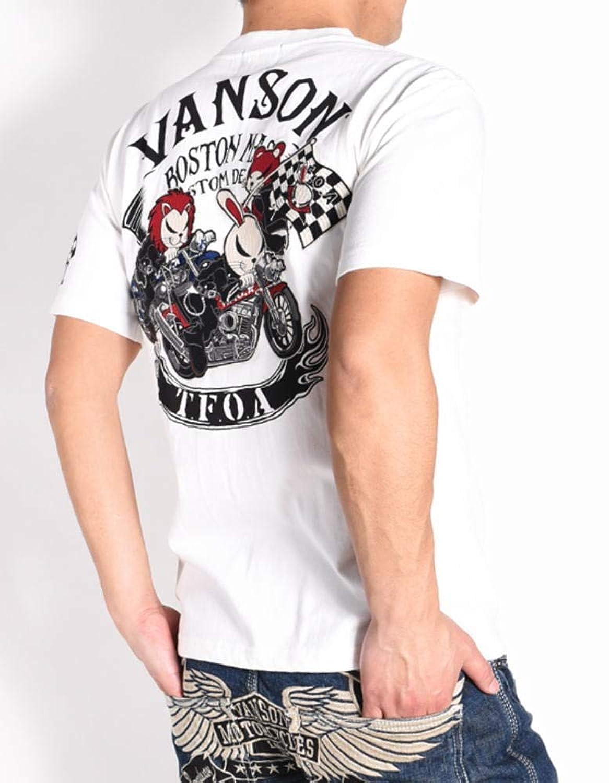 【2019春夏】(バンソン) VANSON × クローズ ワースト コラボ Tシャツ T.F.O.A 武装戦線別働隊KKK デスラビット 刺繍プリント 半袖Tシャツ CRV-914-WHITE