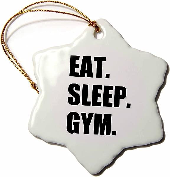 3dRose ORN 180409 1 吃睡眠健身运动的文字礼物健身爱好者雪花装饰瓷器 3 英寸
