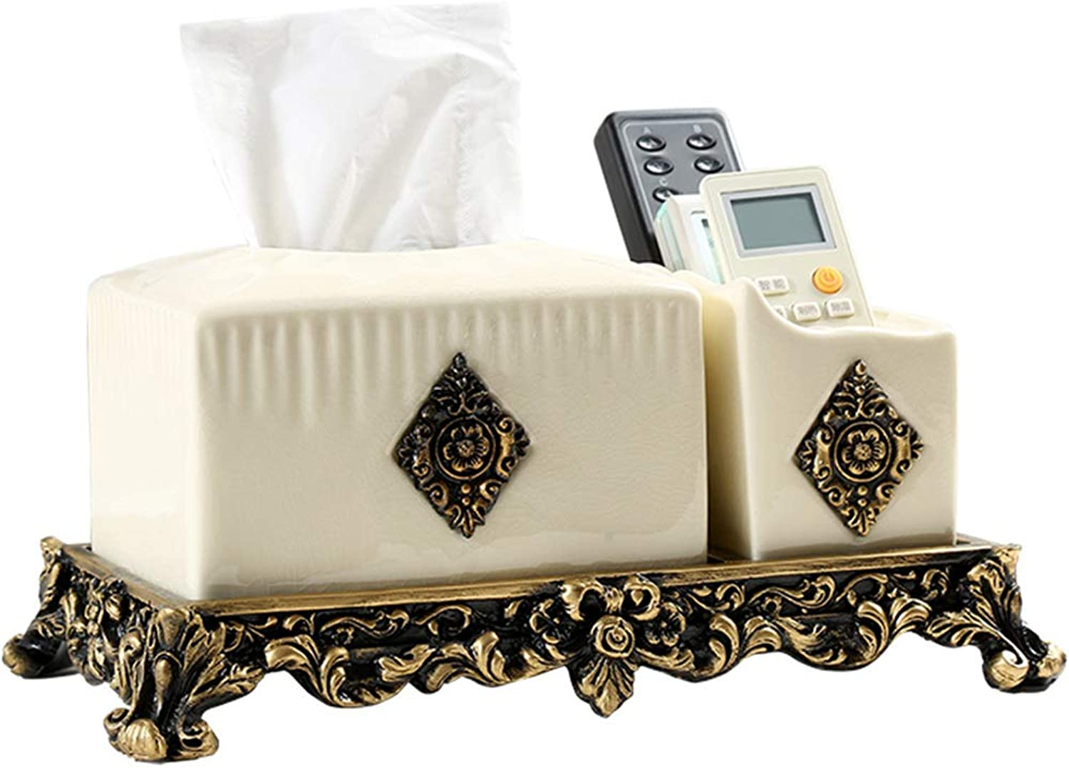 Tissue Box Ceramic Multi-Function Creative Continental Desktop Living Room Coffee Table